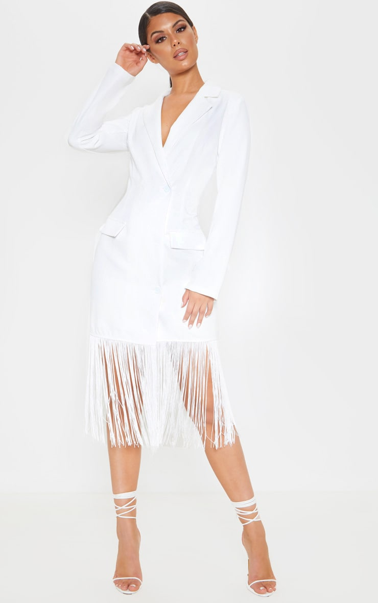 White Tassel Open Back Blazer Dress 2