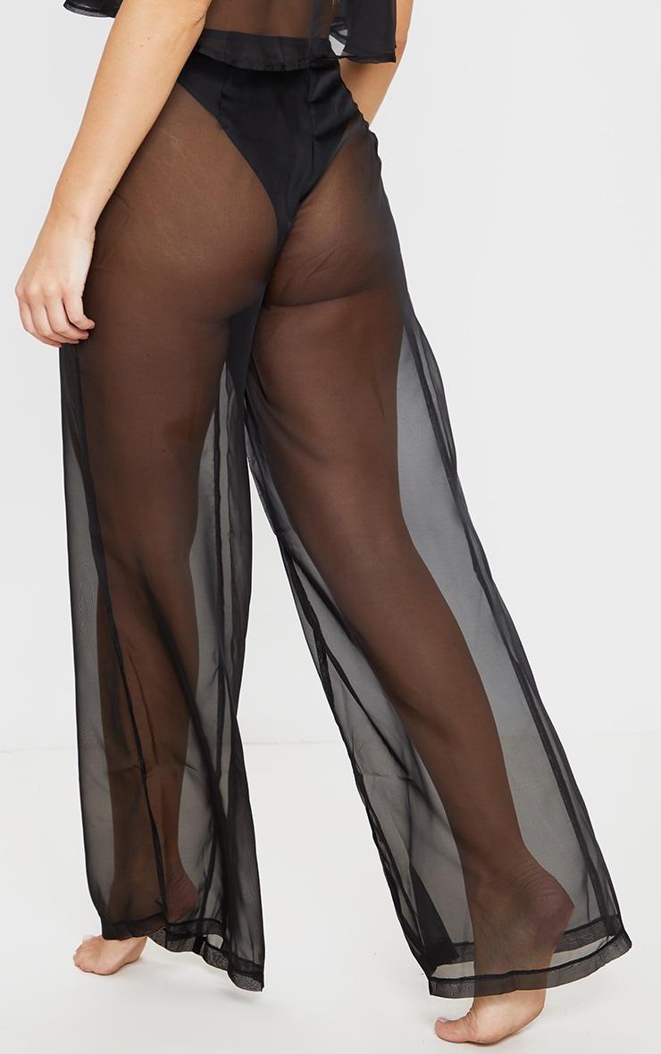 Black Wide Leg Beach Pants 4