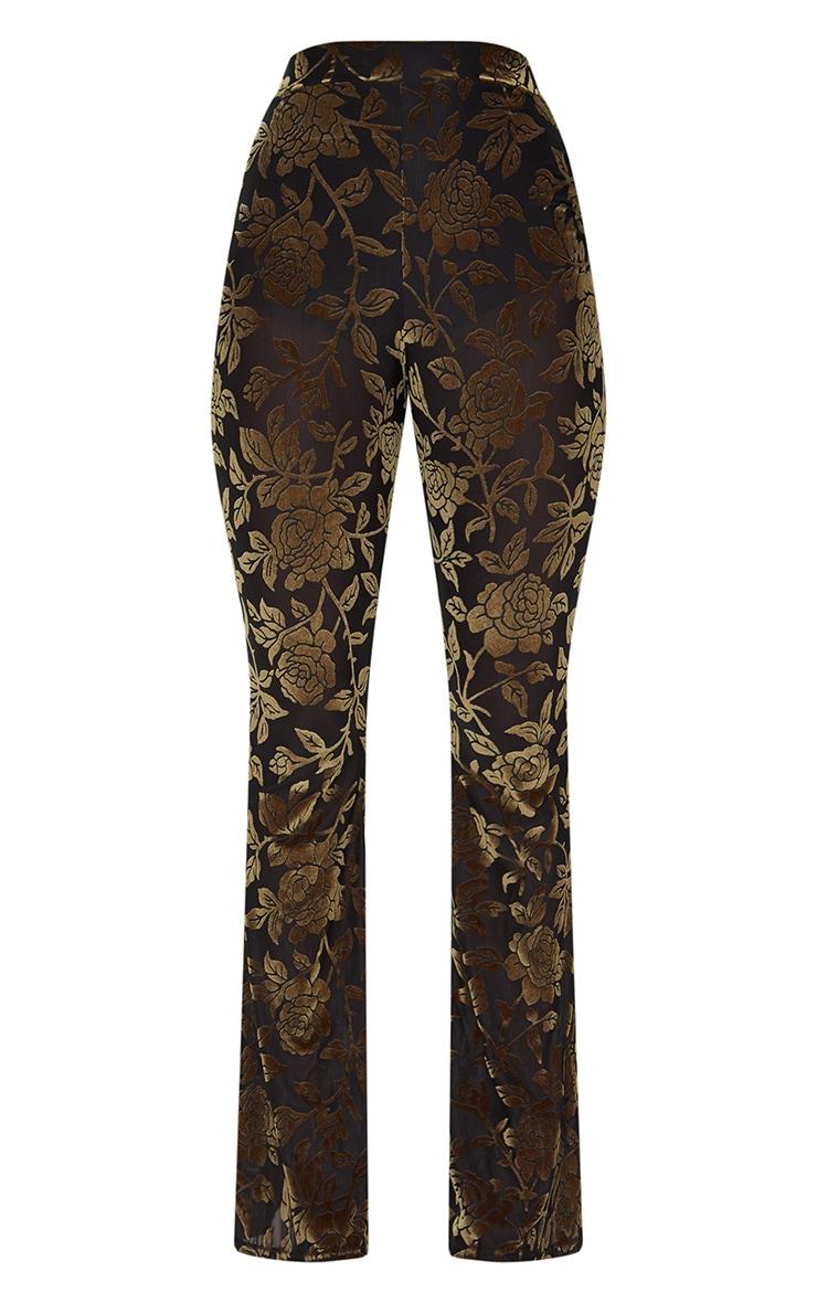 Green Velvet Flock Flare Leg Trousers 3