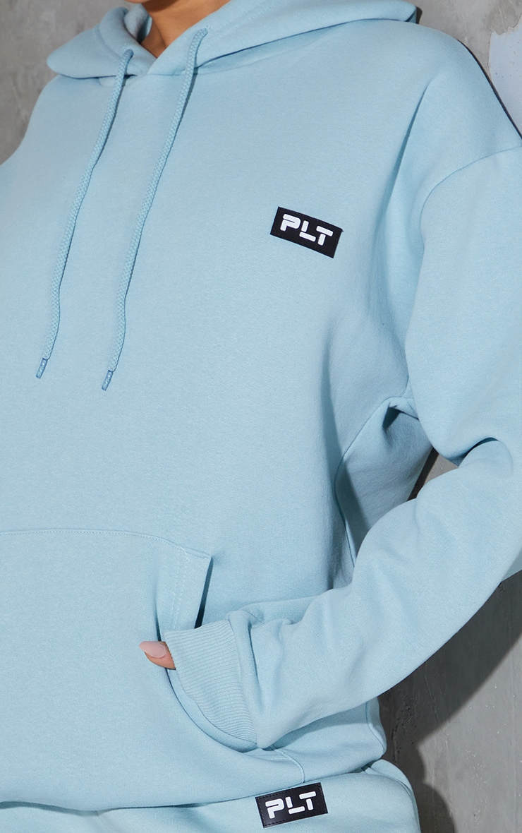 PRETTYLITTLETHING Sage Blue Badge Detail Oversized Hoodie 4