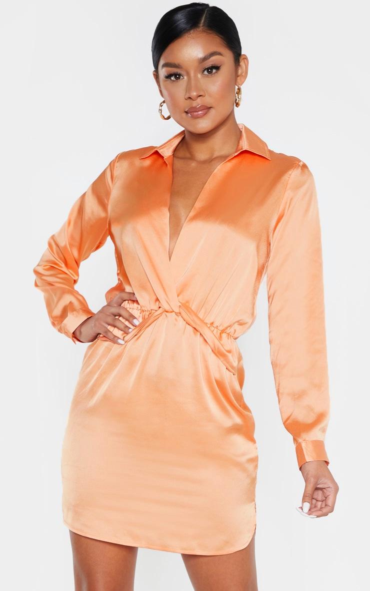 Peach Twist Front Silky Shirt Dress 1