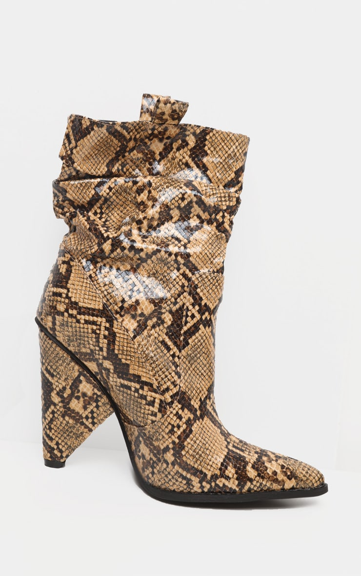 Brown Snake Slouch Cone Heel Ankle Boot 4