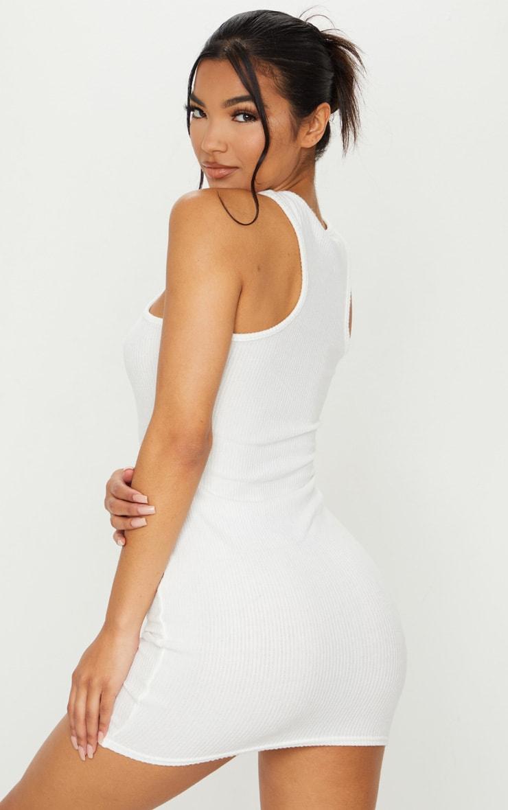 White Brushed Rib Racer Neck Bodycon Dress 2