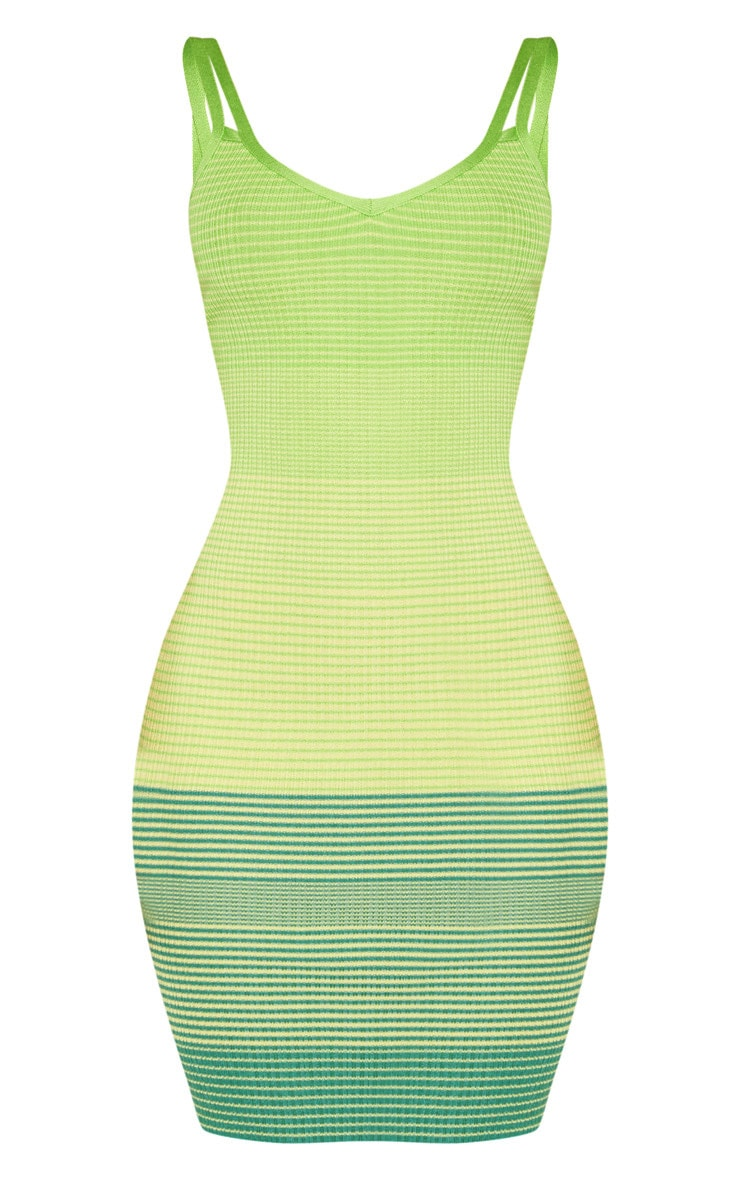 Lime Stripe Detail Knitted Strappy Dress 3