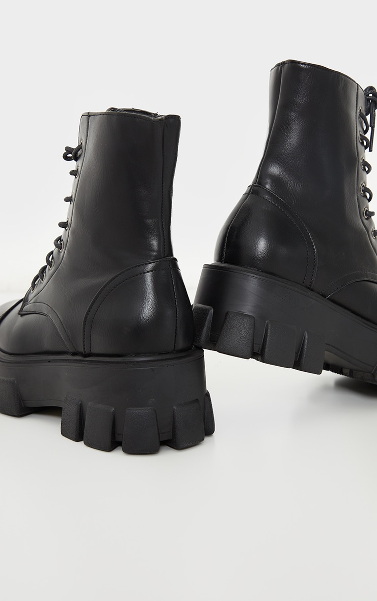 Black Wide Fit PU Extreme Cleated Chunky Lace Up Boots 4