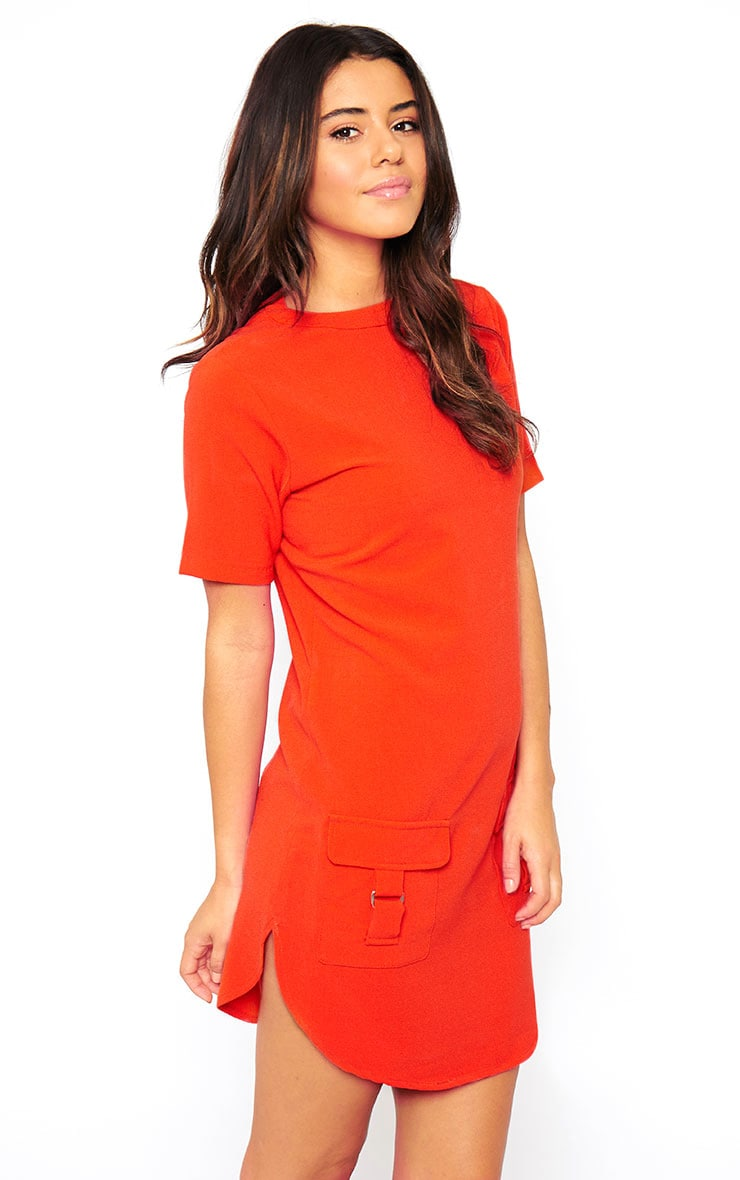 Anastasia Orange Pocket Front Shift Dress 4