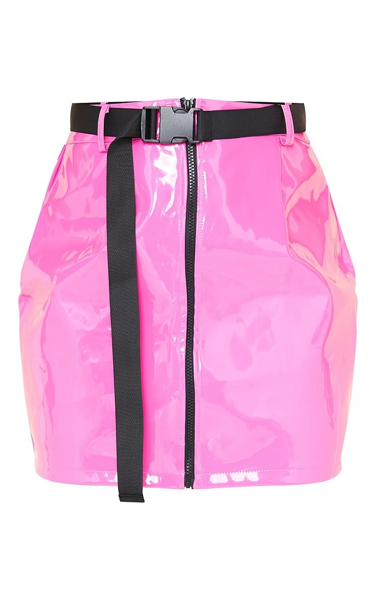 Neon Pink Vinyl Zip Front Belted Mini Skirt 6