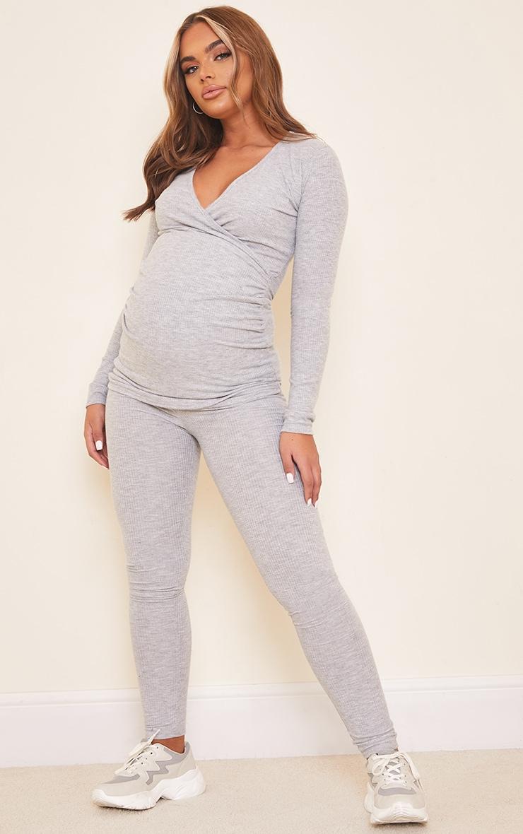 Maternity Grey Brushed Rib Leggings 1