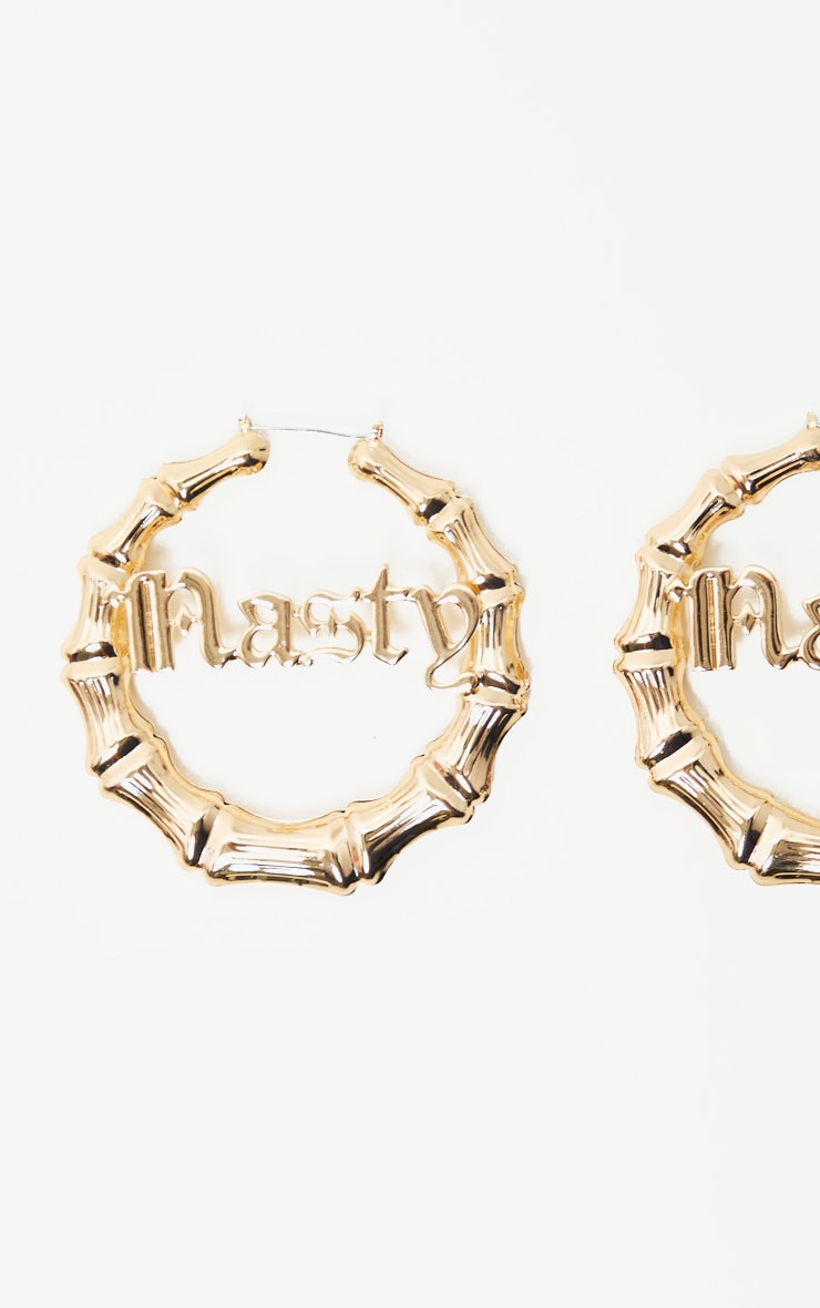 Gold Nasty Slogan Large Bamboo Hoops 2