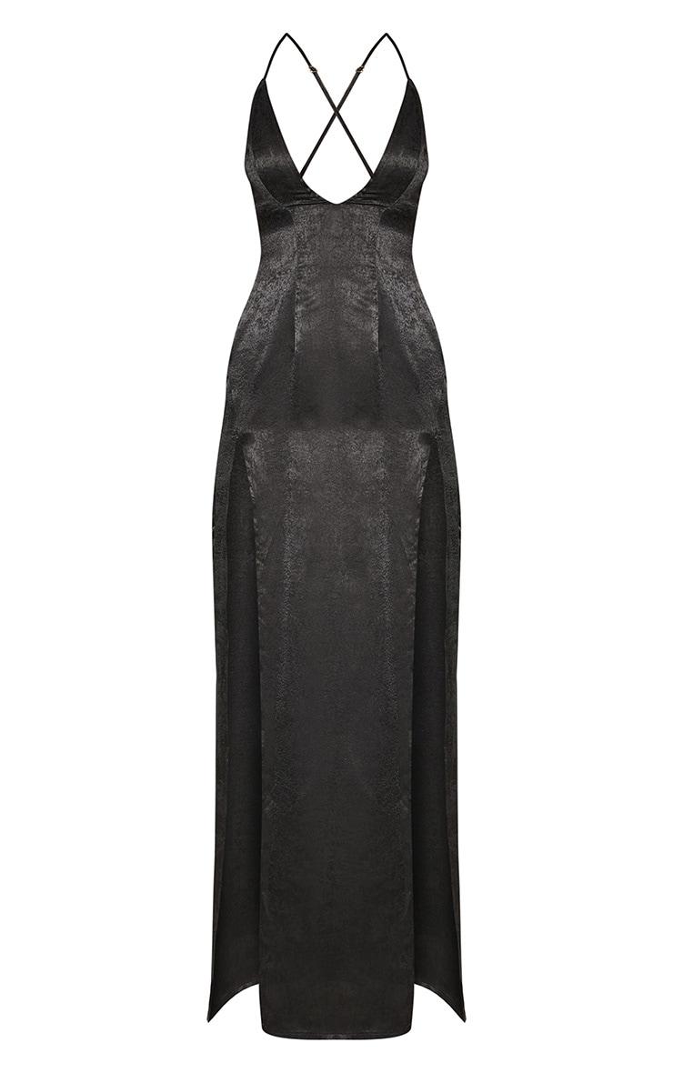 Black Satin Slip Maxi Dress 3