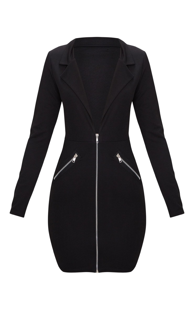 Black Zip Detail Blazer Bodycon Dress 3