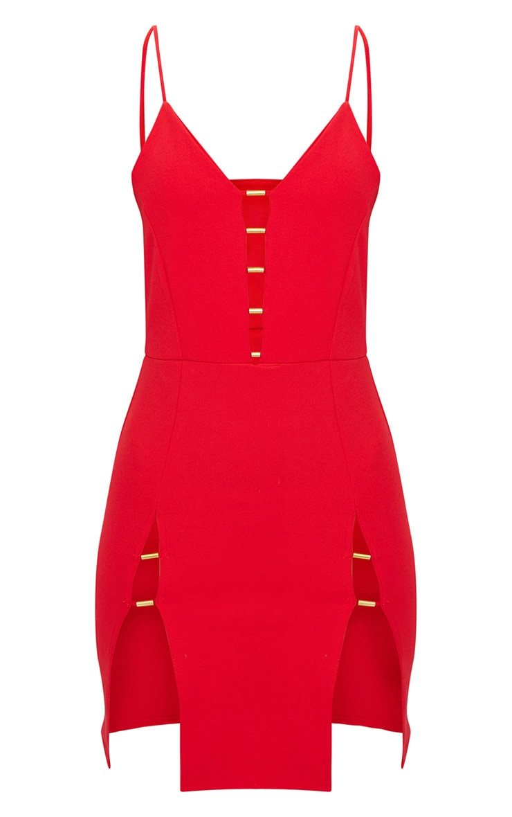 Red Strappy Plunge Metal Bar Detail Extreme Split Bodycon Dress 3
