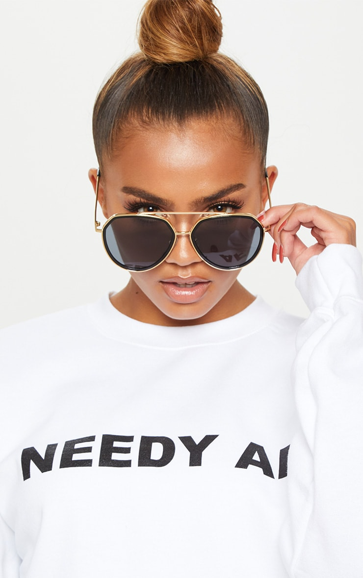 Black Lens Gold Framed Angled Aviator Sunglasses