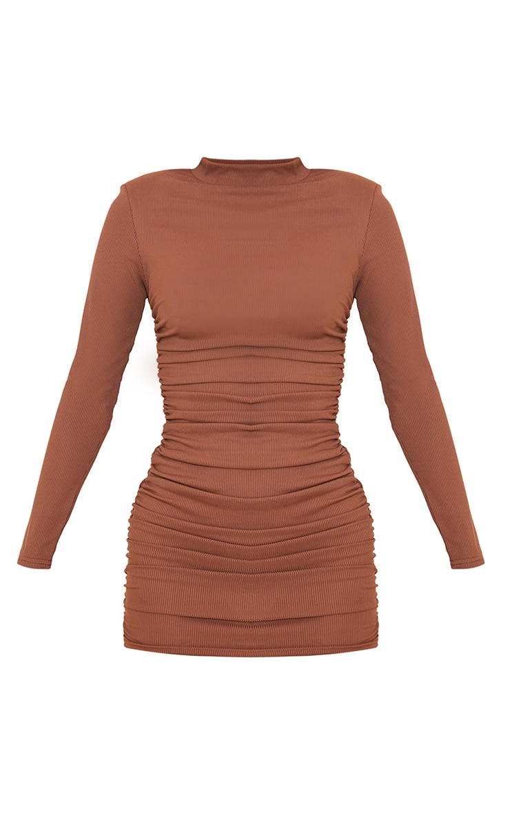 Chocolate Rib Shoulder Pad Ruched Long Sleeve Bodycon Dress 5