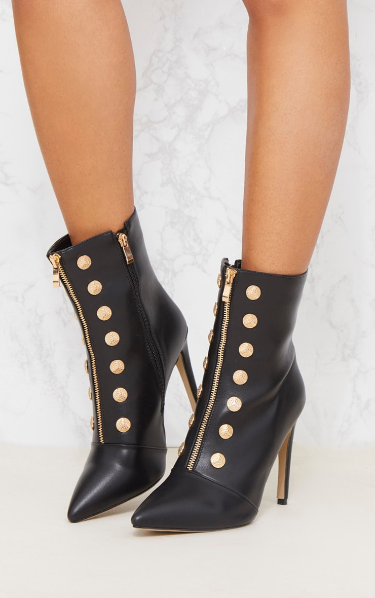 Black Gold Button Studded Ankle Boot 3