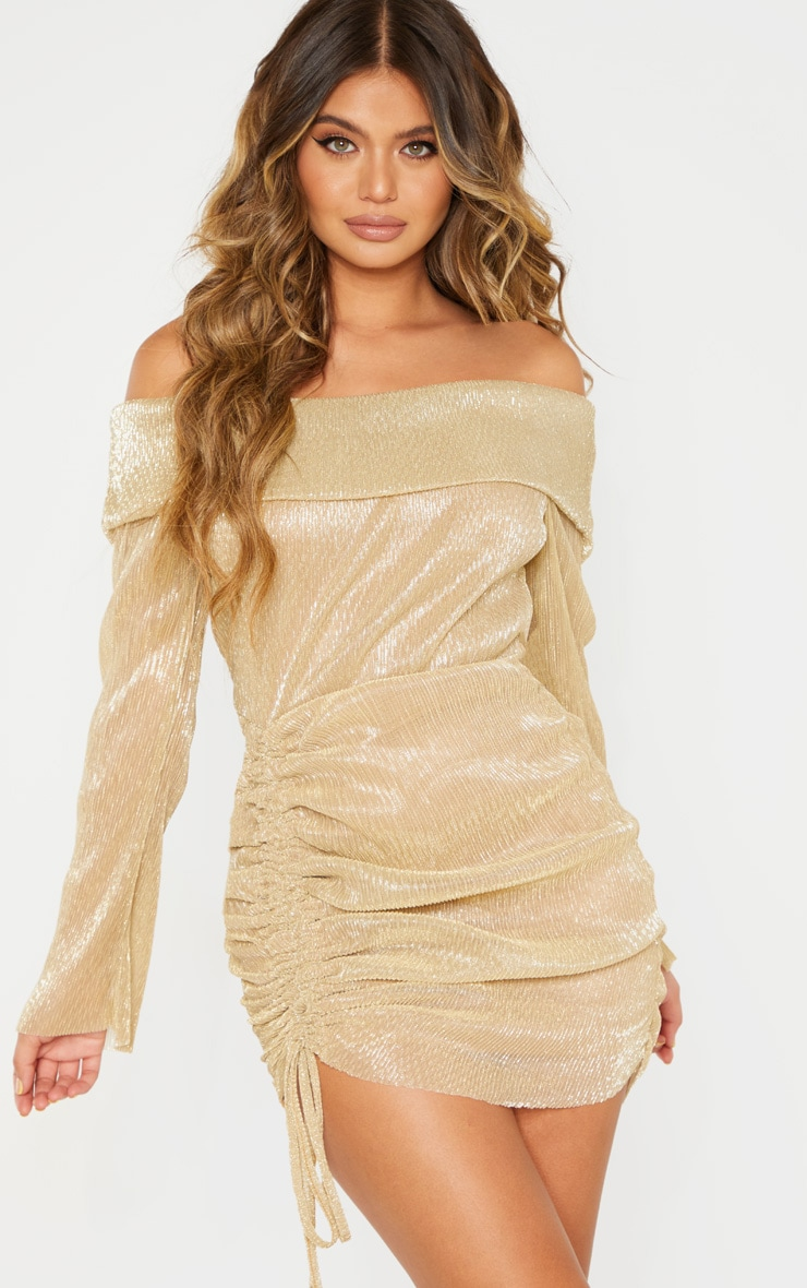Gold Metallic Plisse Bardot Ruched Bodycon Dress 1