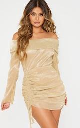 Gold Metallic Plisse Bardot Ruched Bodycon Dress 1