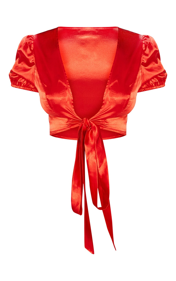 Petite Red Puff Sleeve Tie Front Crop Top 3