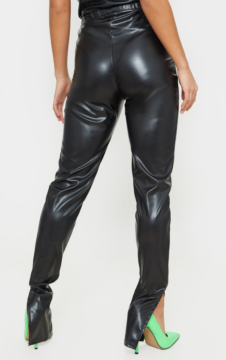 Petite - Legging noir en similicuir à ourlet fendu  3
