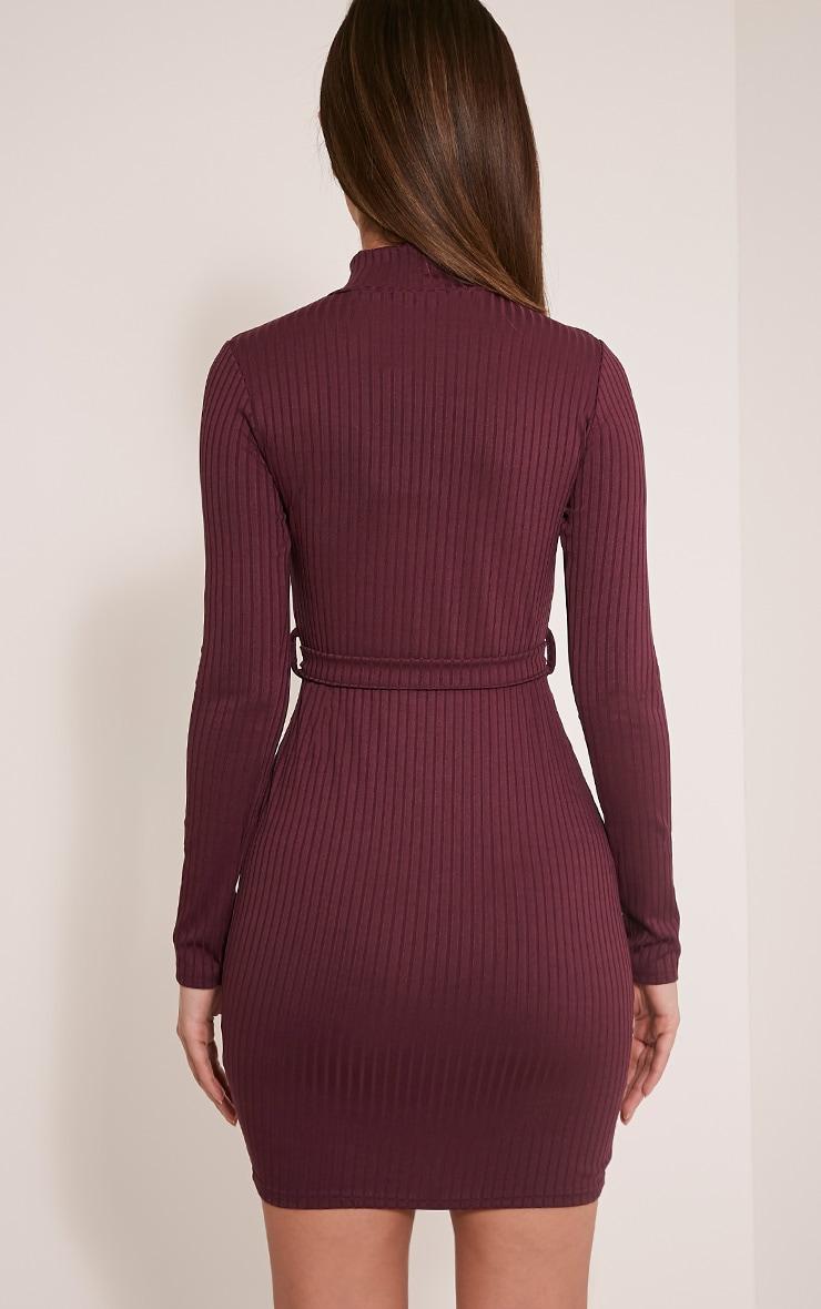 Mya Aubergine Belt Detail Ribbed Bodycon Dress 2