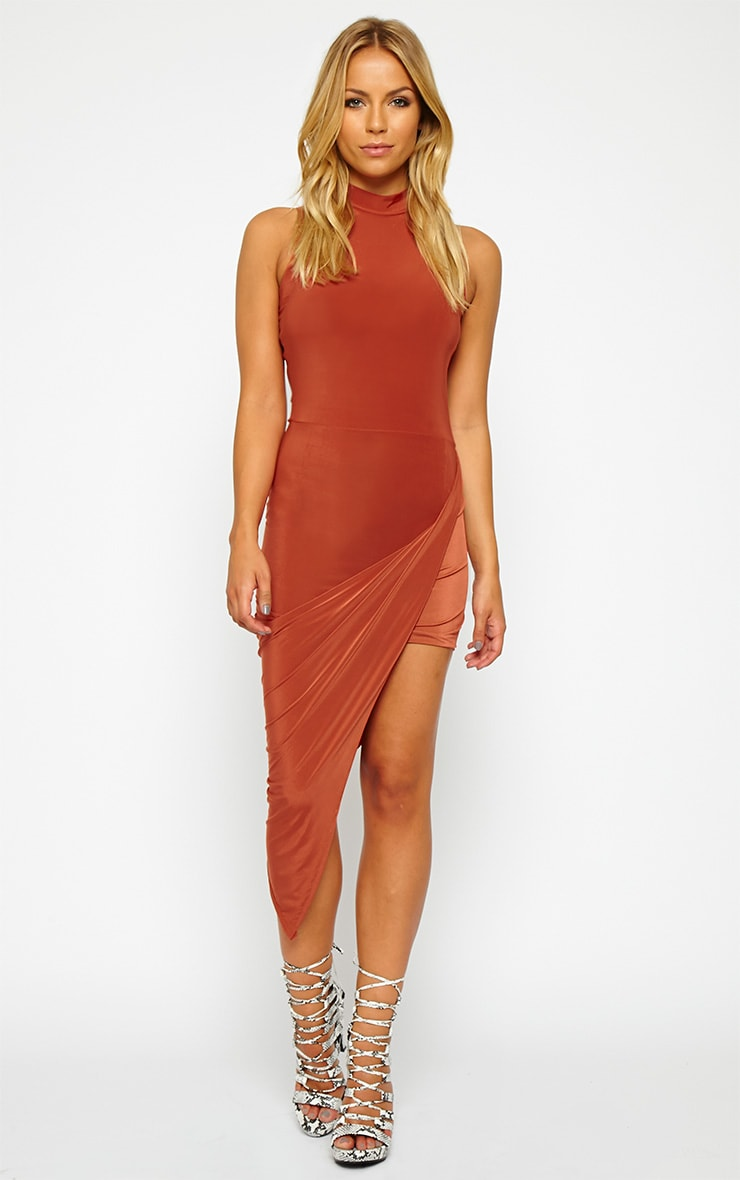 Prim Rust Slinky Drape Asymmetric Dress 1