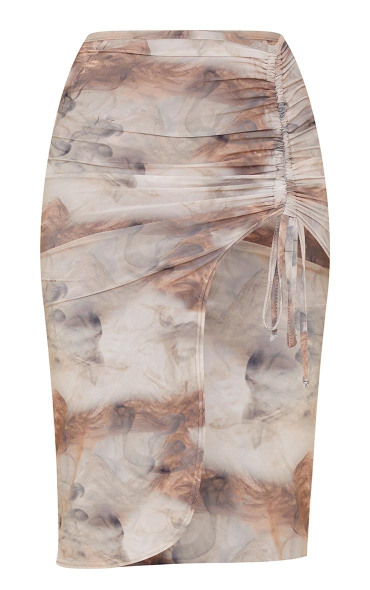 Tan Smoke Print Slinky Ruched Side Split Midi Skirt 5