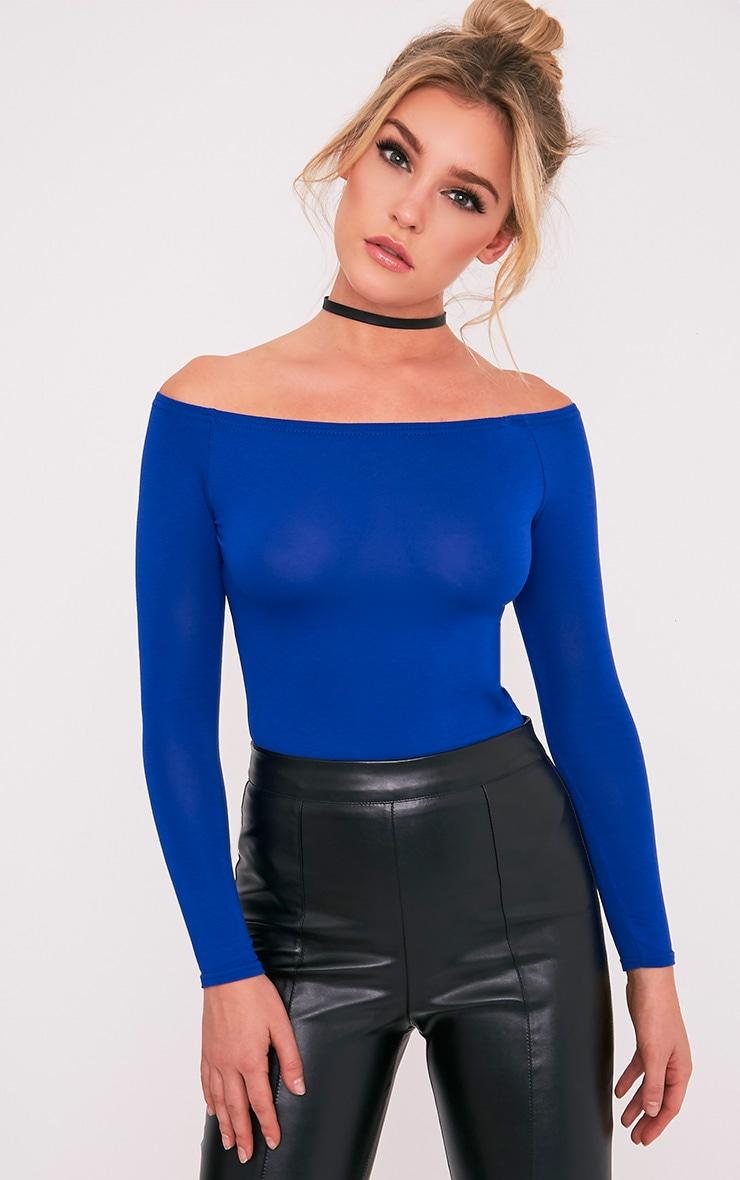 Basic Cobalt Bardot Bodysuit 2