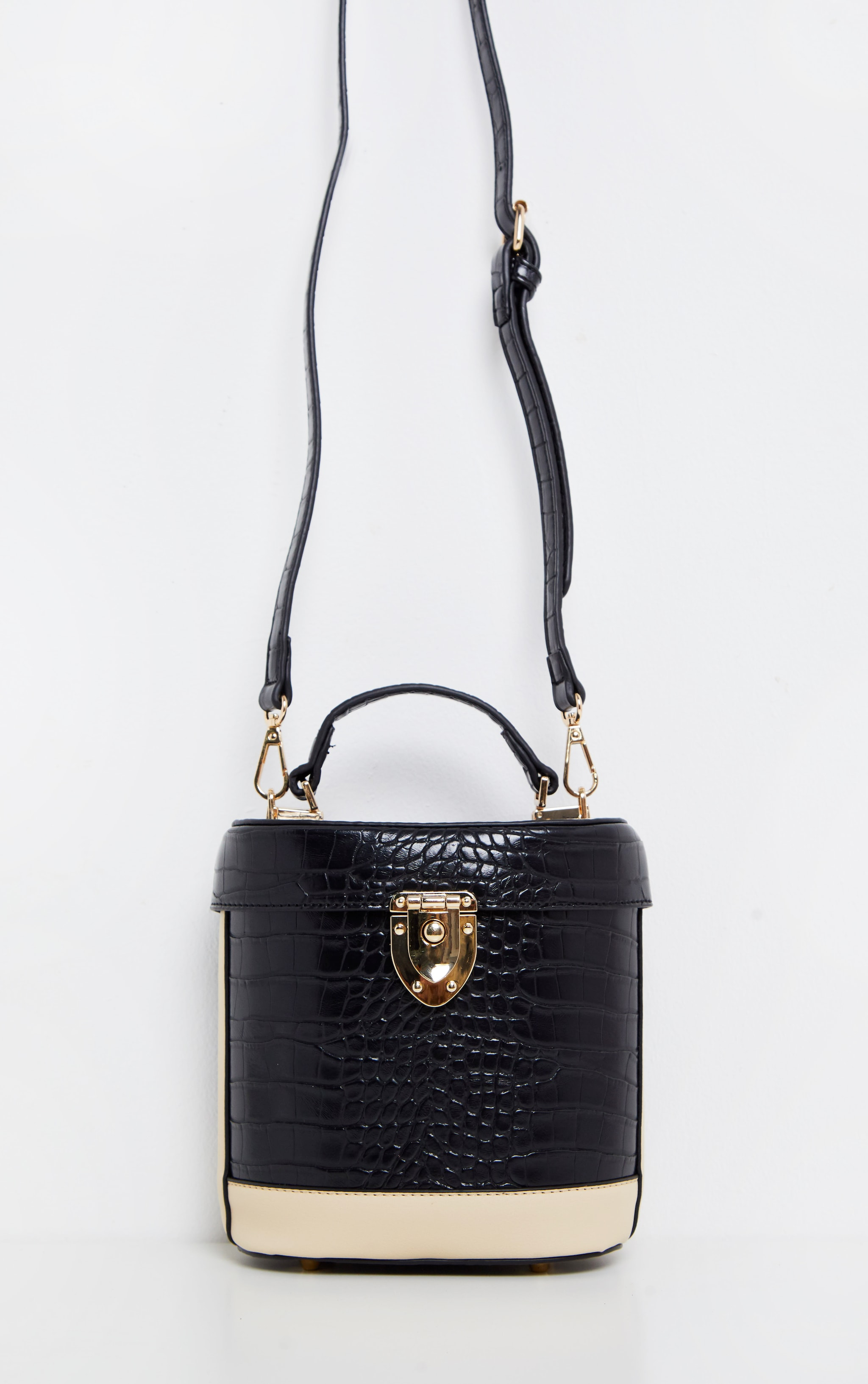 Black Croc Hard Cylindrical Cross Body 2