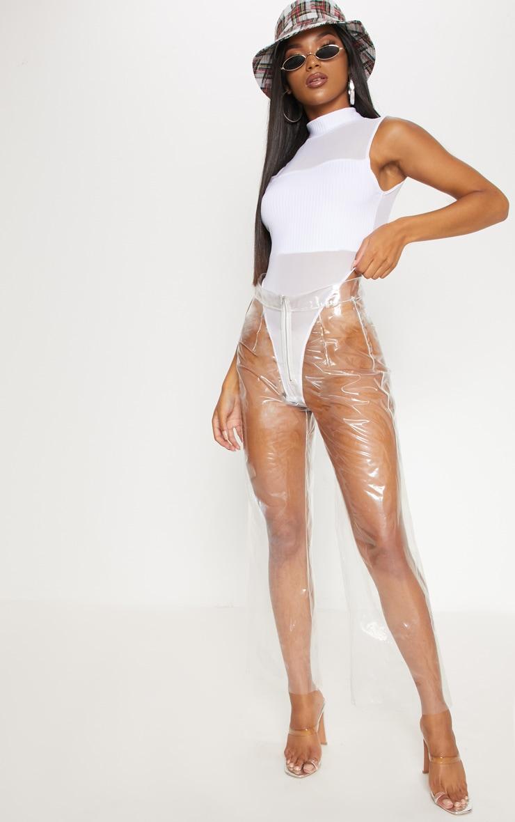 White Mesh Panelled High Neck Bodysuit 5