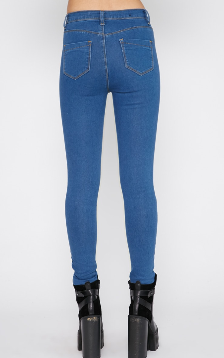 Lowri Mid Wash Rolled Up High Waist Skinny Jean  4
