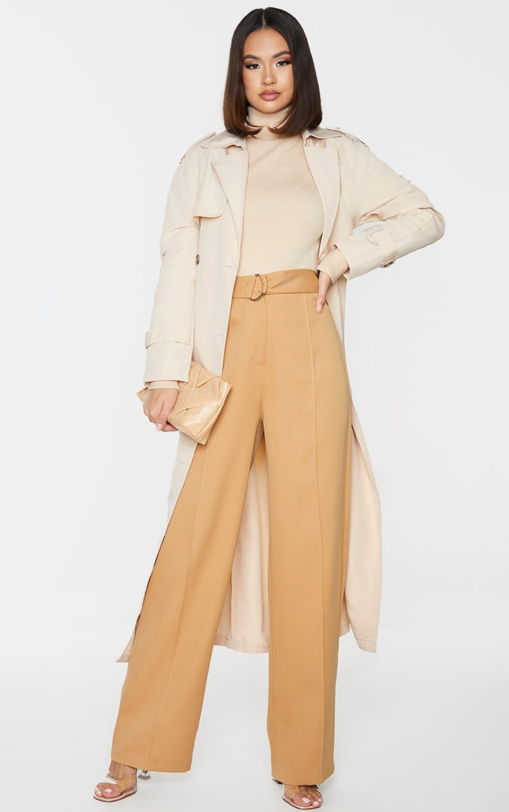 Camel D Ring Woven Belted Straight Leg Pants 1