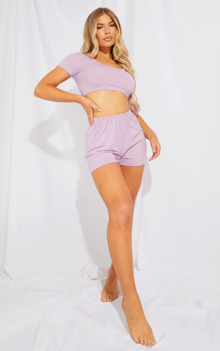 Purple Top & Floaty Shorts PJ Set 3