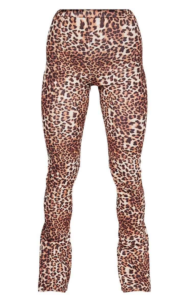 Multi Leopard Back Split Hem Skinny Trousers 5