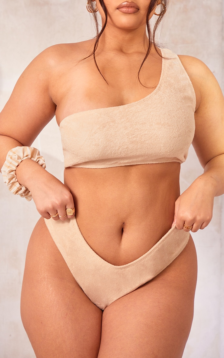 Plus Stone Towelling Bikini Bottom 1