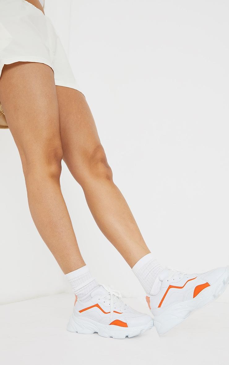 Orange PU Contrast Mesh Color Block Bubble Sole Sneakers 2