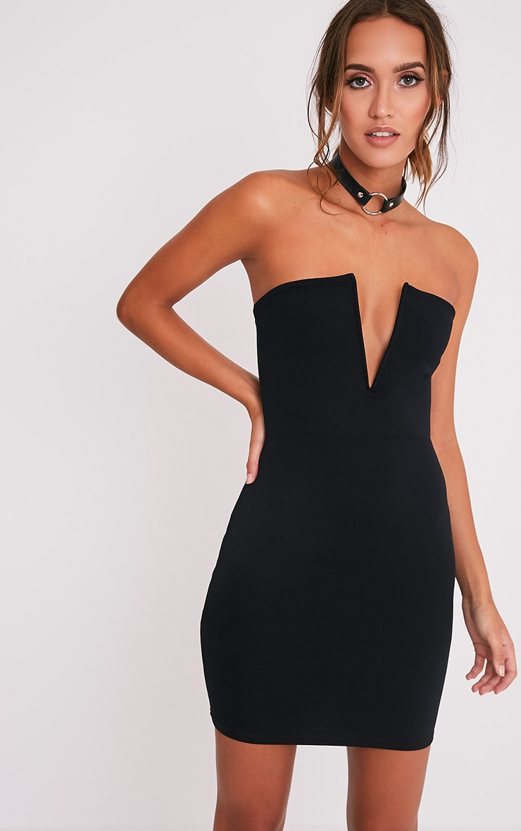 Sofia Black V Plunge Bandeau Bodycon Dress 1