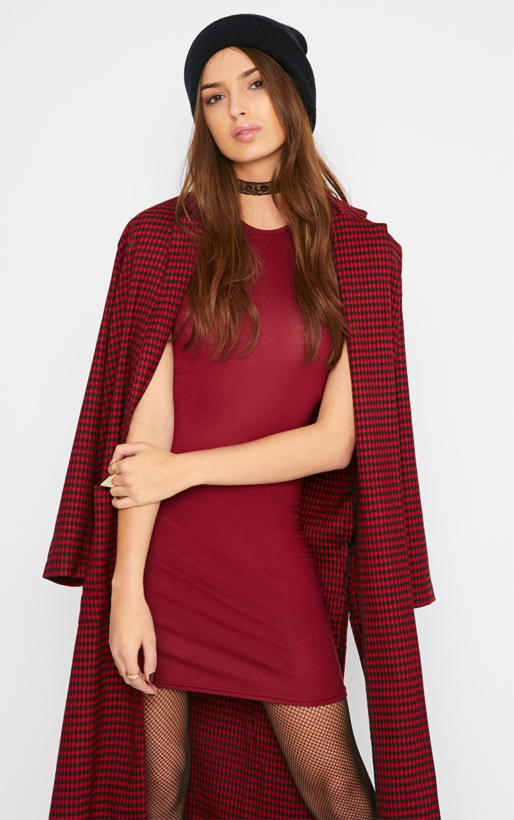 Basic Burgundy Jersey Dress 3