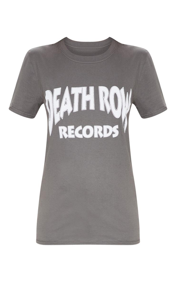 Charcoal Slogan Death Row T Shirt 3