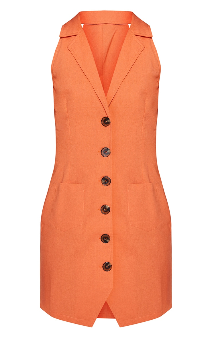 Tangerine Sleeveless Button Front Blazer Bodycon Dress 3