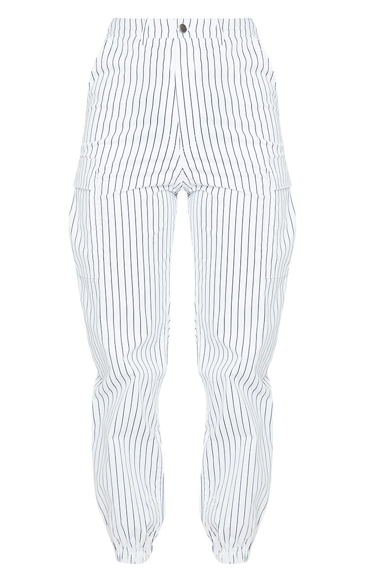 White Pinstripe Pocket Detail Cargo Pants 5