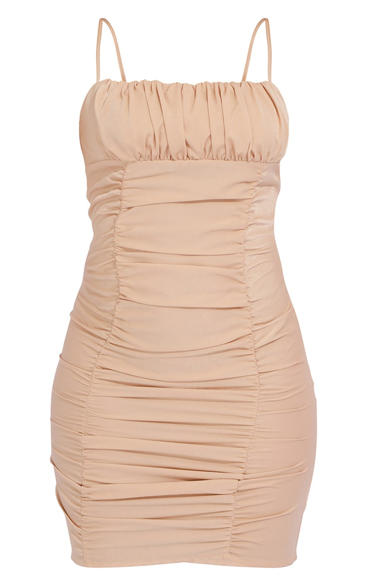 Nude Satin Strappy Ruched Panel Bodycon Dress 5