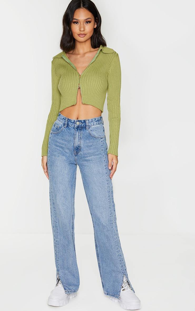 Olive Double Zipped Knitted Crop Top 3
