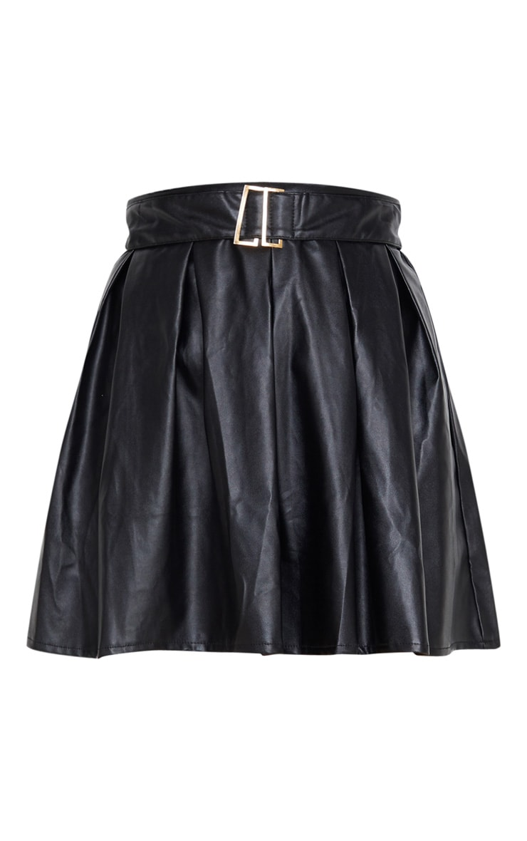 Black Belted Faux Leather Pleated Mini Skirt 3