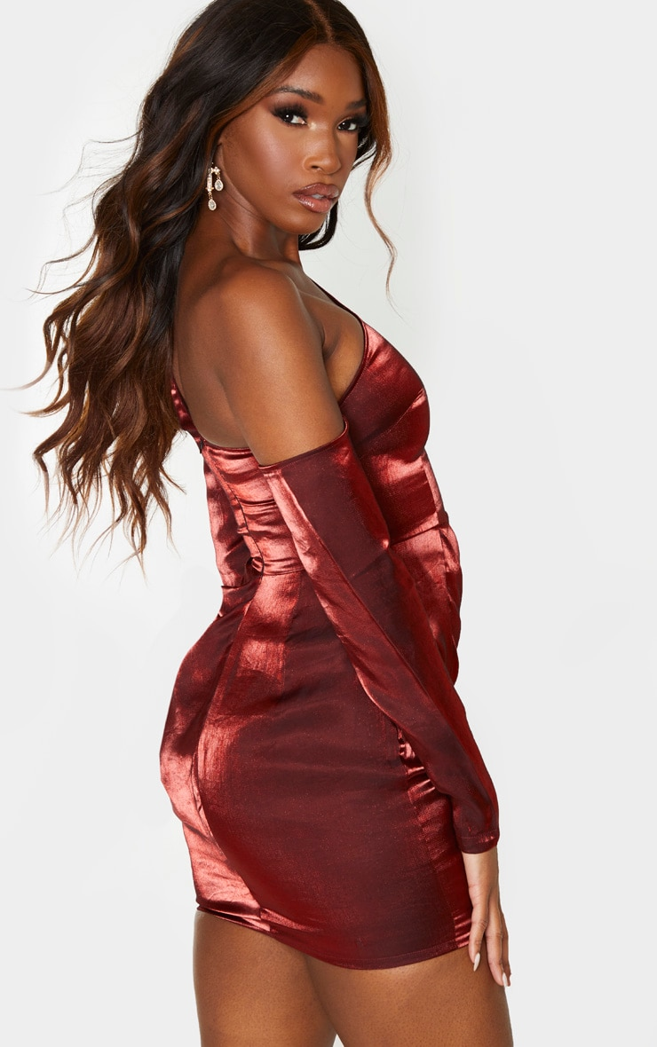 Red Metallic One Shoulder Drape Bodycon Dress 2
