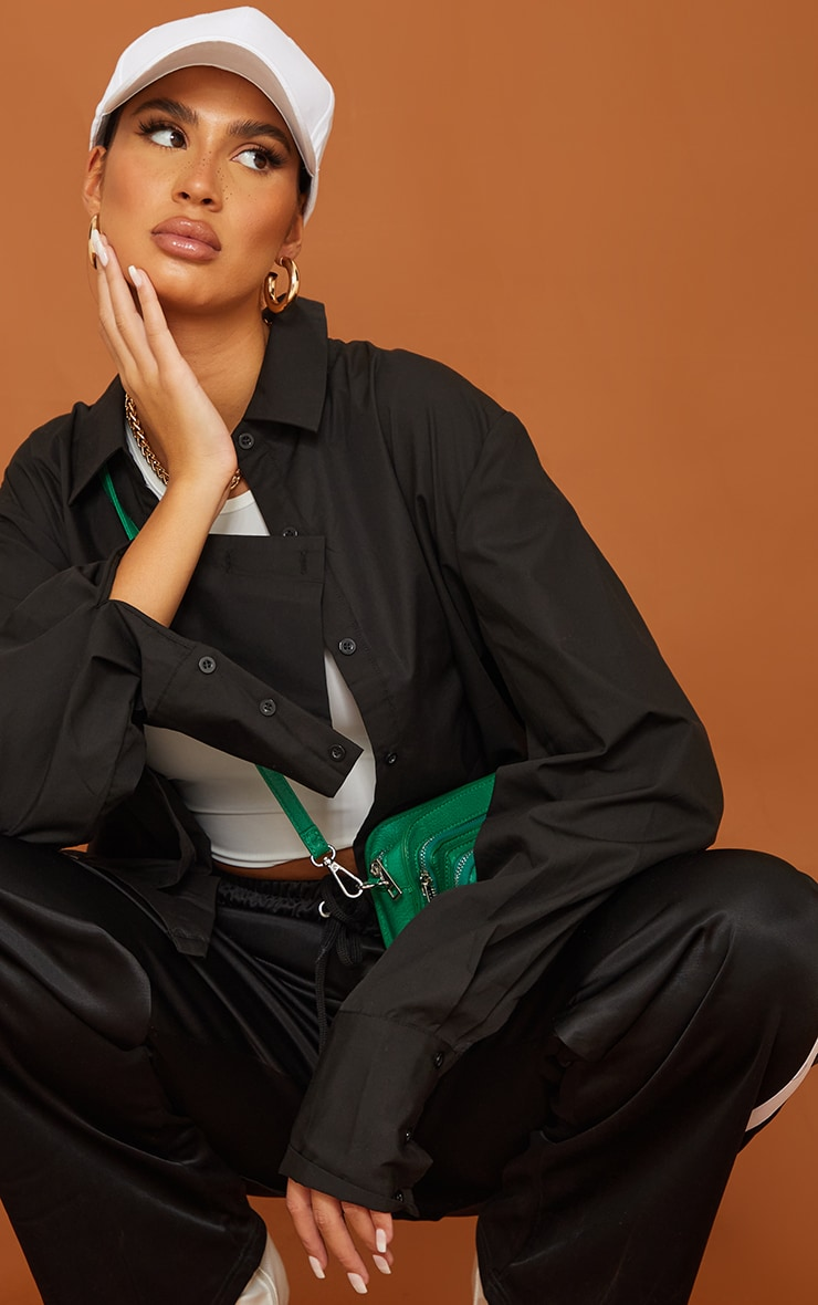 Tall  Black Oversized Cuff Poplin Shirt 4