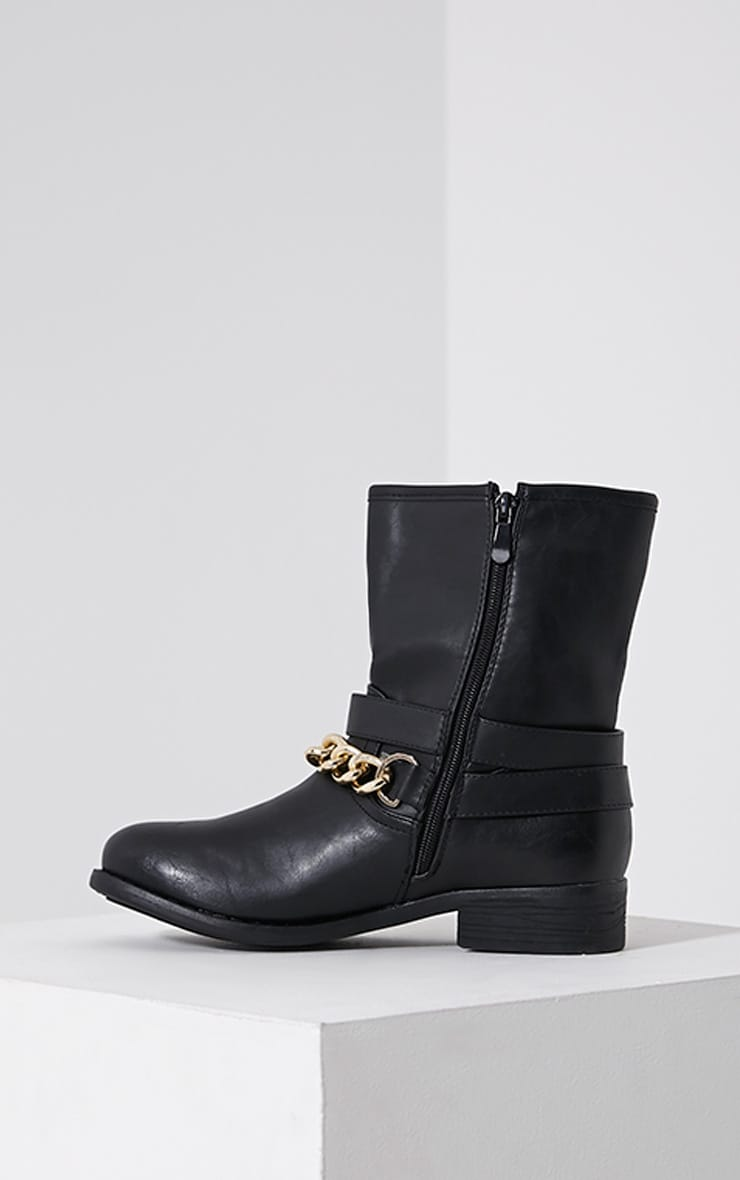Janet Black Chain Ankle Boots 4