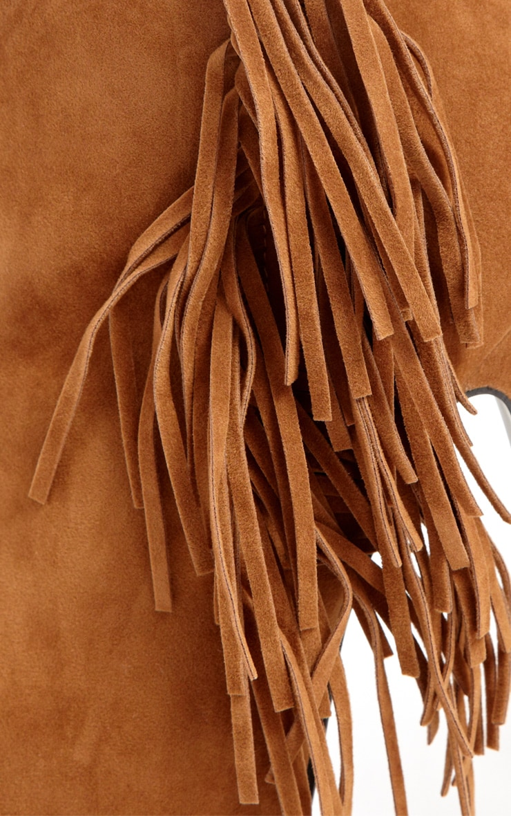 Ally Tan Fringe HIgh Heel Ankle Boots 4