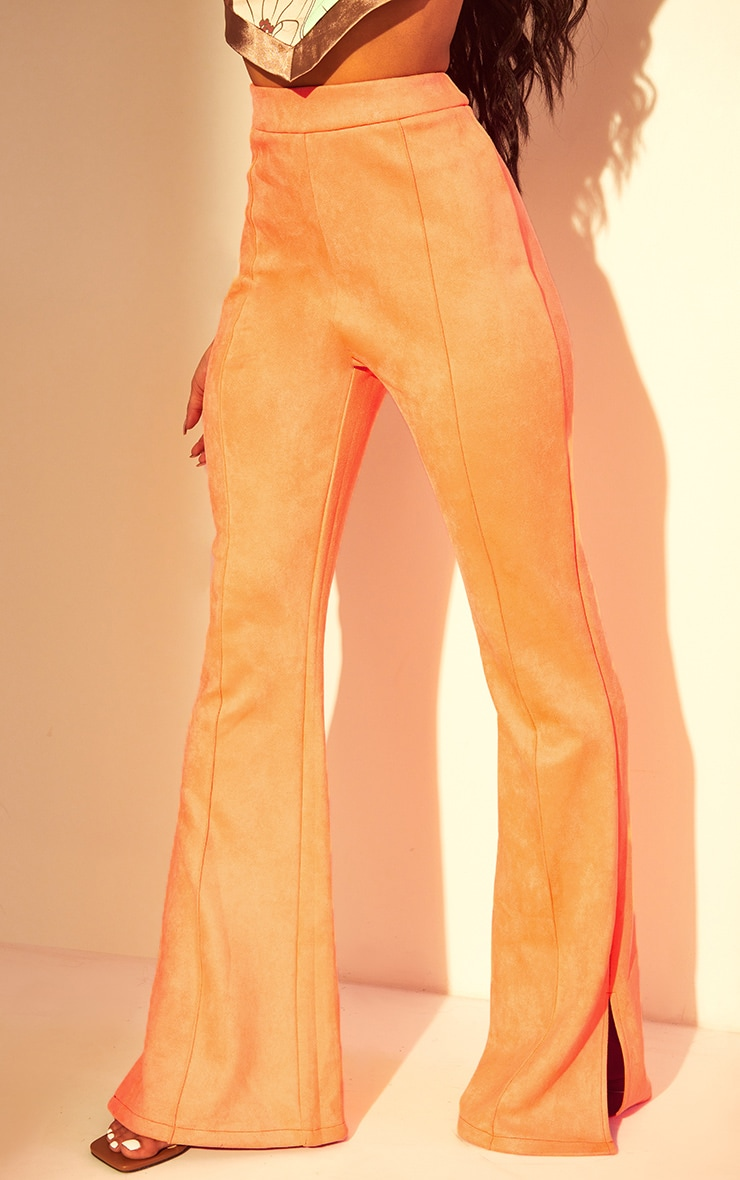Coral Bonded Suede Flare Pants 2