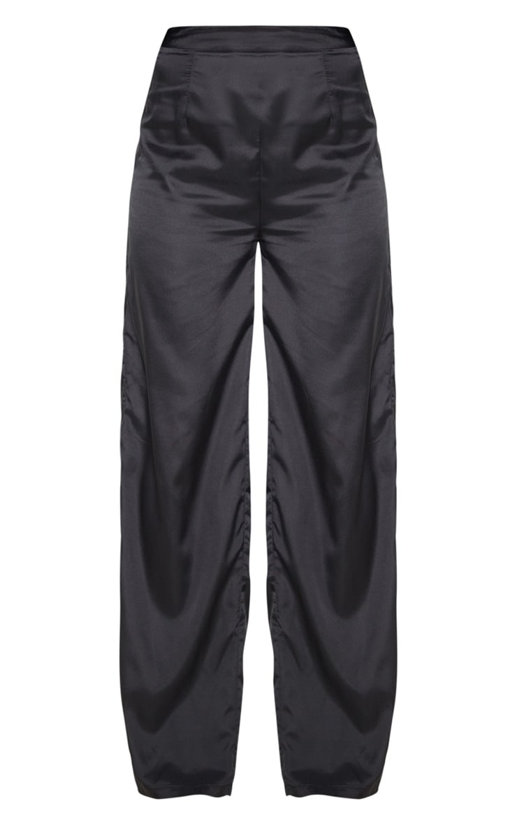 Black Woven High Waisted Wide Leg Trouser 3