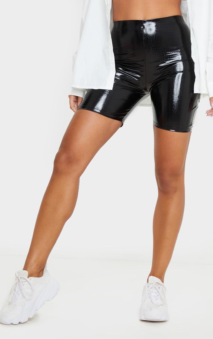 Black Vinyl Croc Bike Shorts 2
